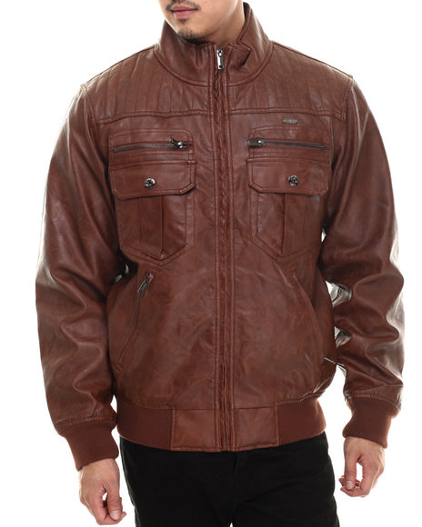 Ur-ID 200666 Rocawear - Men Brown P U Garment Wash Jacket