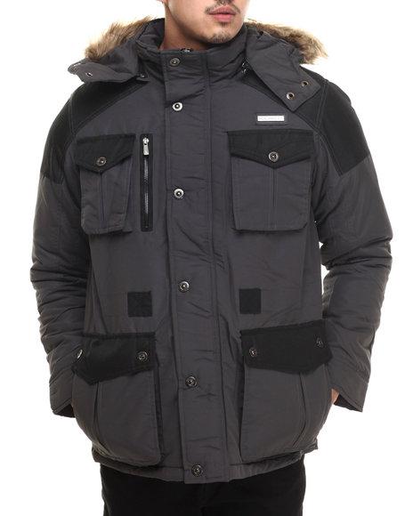 Rocawear - Men Charcoal,Black Nylon Insulated Parka W/ Detachable Hood