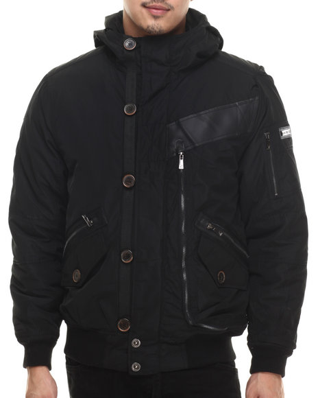 Rocawear - Men Black Nylon Bomber Jacket W/ Attached Hood