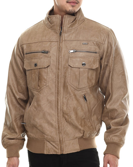 Ur-ID 200680 Rocawear - Men Light Brown P U Garment Wash Jacket by Rocawear