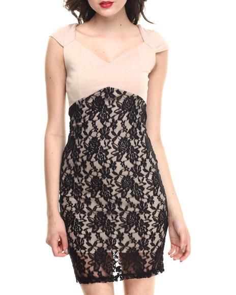 Summer B. - Women Tan Queen Of The Wine Lace Maxi Dress