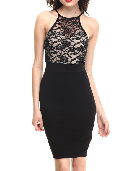 Summer B. - Women Black Drape Lacey Dress