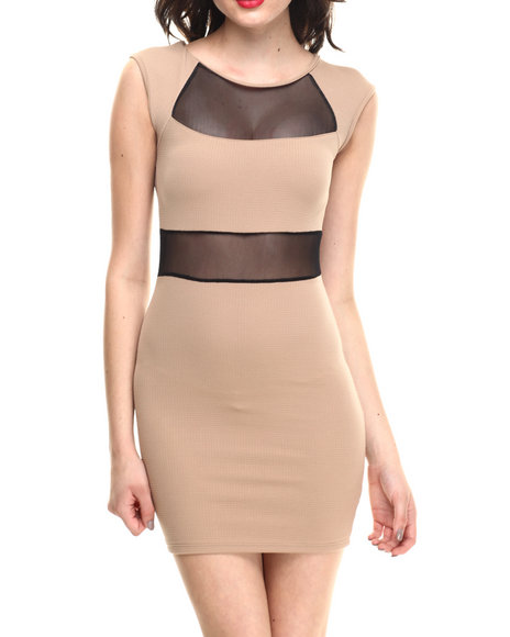Summer B. - Women Tan Lorelle Body Con W/Mesh Detail Dress