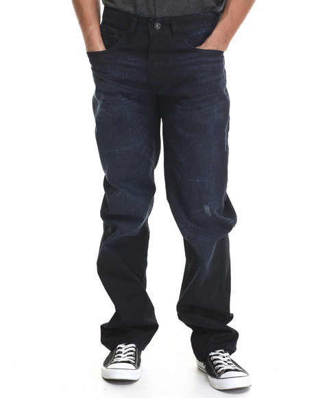 Rocawear - Men Blue Coated Volume Classic Fit Jeans