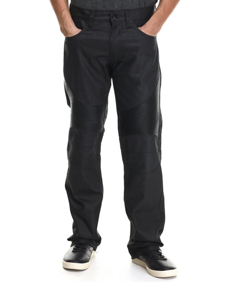 Buyers Picks - Men Black Oil Wash Biker Denim Straight Fit Denim Jeans