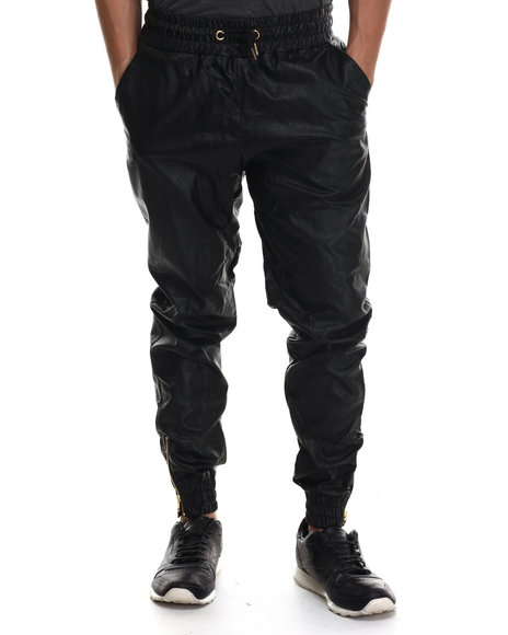 Buyers Picks - Men Black Full Faux Leather Jogger Pants