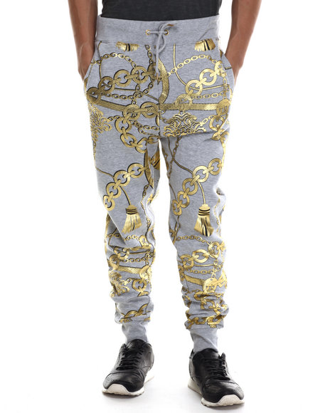 Buyers Picks - Men Grey Gold Chains Fleece Jogger Pants