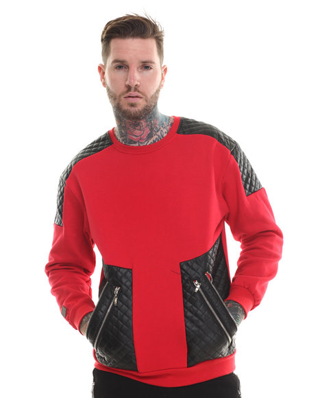 Buyers Picks - Men Red Futuristic Faux Leather Trim Sweatshirt