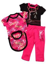 Infant & Newborn - 4 PC SET - 2 BODYSUITS, PANTS, & BIB (NEWBORN)