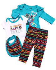 Infant & Newborn - 4 PC SET - 2 BODYSUITS, PANTS, & BIB (NEWBORN)
