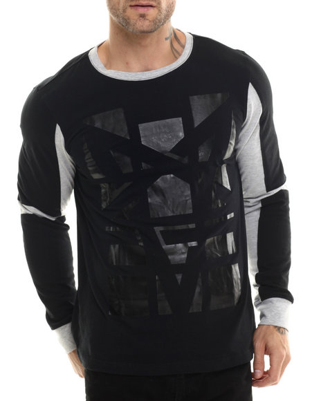 Ur-ID 200649 Akademiks - Men Black Overlook High Density L/S Shirt