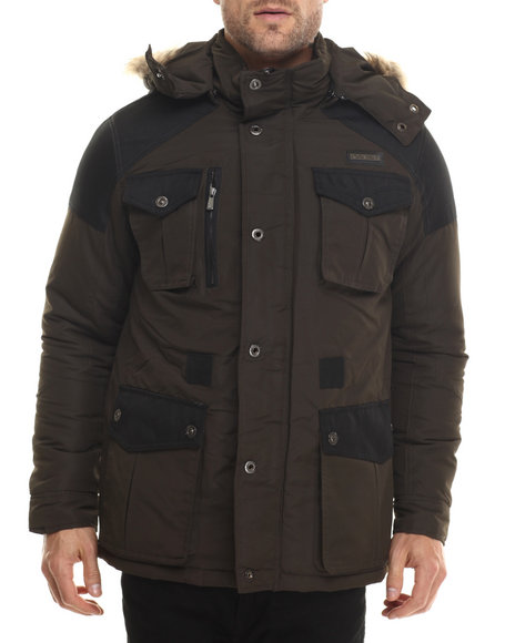 Ur-ID 200708 Rocawear - Men Olive Nylon Insulated Parka W/ Detachable Hood