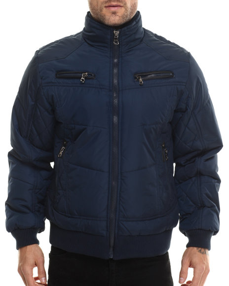 Ur-ID 200709 Basic Essentials - Men Navy Espo Fashion Quilted Bomber Jacket
