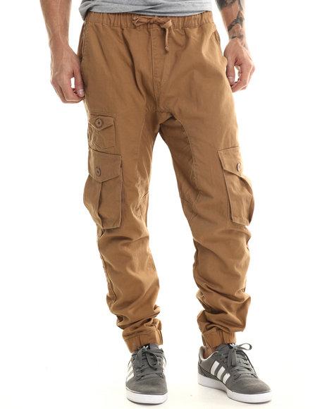 Akademiks - Men Khaki River Elastic Banded Twill Cargo Pants - $44.00