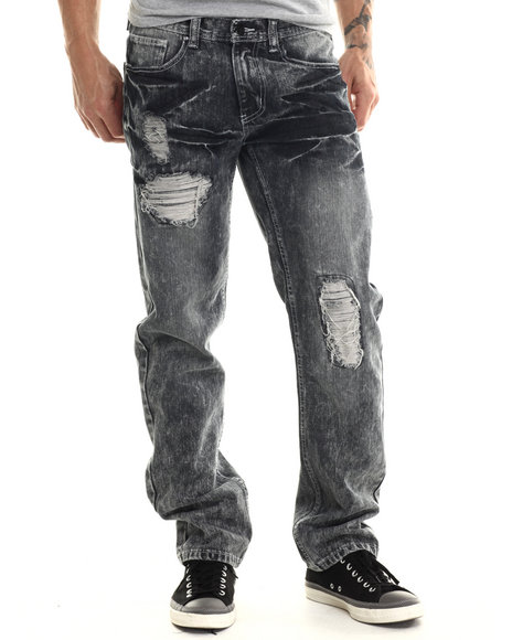Akademiks - Men Black Windsor Ice Wash Rip & Tears Denim Jeans
