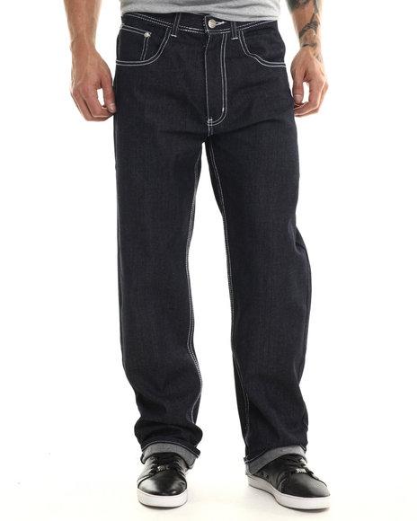 Akademiks - Men Dark Wash,White Monroe Signature Fanback Pocket Denim Jeans - $29.99