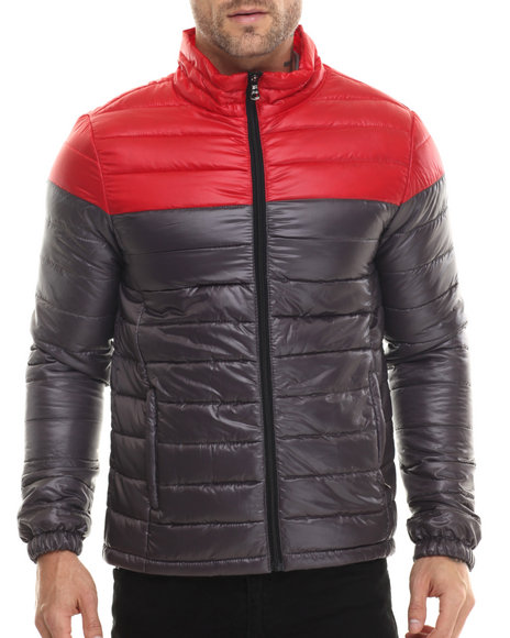 Basic Essentials - Men Grey Chill Factor 2 - Tone Polyfill Quilted Jacket
