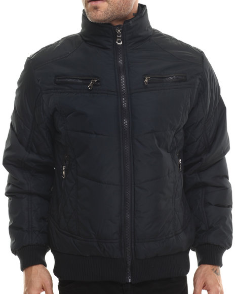 Basic Essentials Men Espo Fashion Quilted Bomber Jacket Black Large