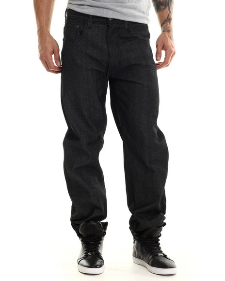 Akademiks - Men Black Monroe Signature Fanback Pocket Denim Jeans - $40.00