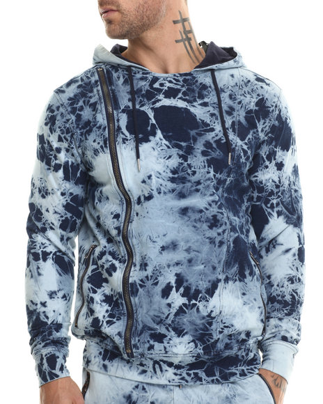 Hudson Nyc - Men Light Wash No Future Asymmetrical Zip - Up Hoodie