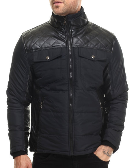Basic Essentials - Men Black Troy Faux - Leather Trim Quilted Jacket