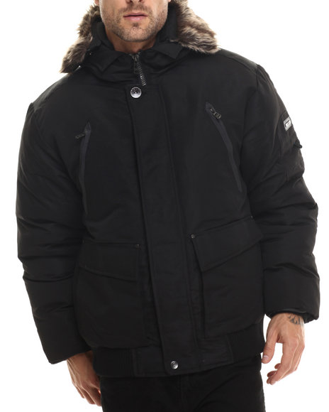 Basic Essentials - Men Black Olympus Down - Filled Snorkel Bomber Jacket