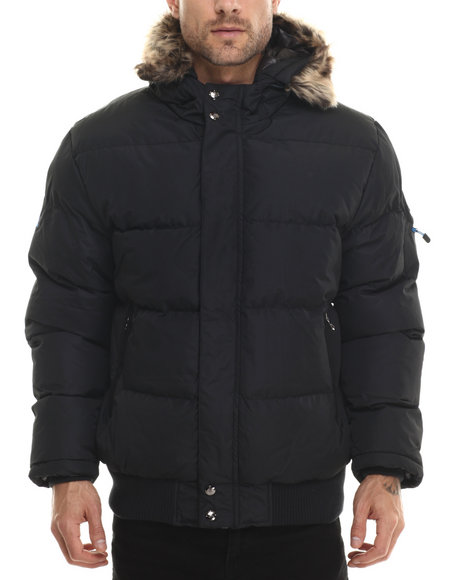 Ur-ID 200737 Basic Essentials - Men Black Logan Peak Quilted Snorkel Bomber Jacket