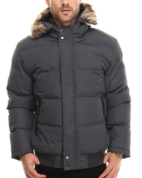 Ur-ID 200739 Basic Essentials - Men Charcoal Logan Peak Quilted Snorkel Bomber Jacket