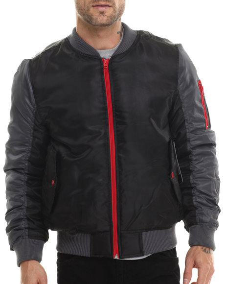 Ur-ID 200743 Akademiks - Men Black Ritter 2 Tone Ma-1 Flight Jacket