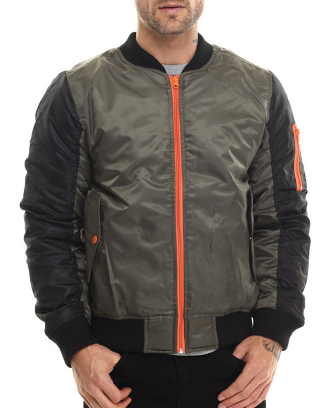 Akademiks - Men Olive Ritter 2 Tone Ma-1 Flight Jacket