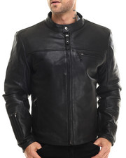 DRJ Leather Shoppe - Perf - Panel Quilted - Sleeve Moto - Style Leather Jacket
