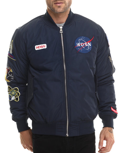 Hudson Nyc - Men Navy Space Camp M A 1 Bomber Jacket