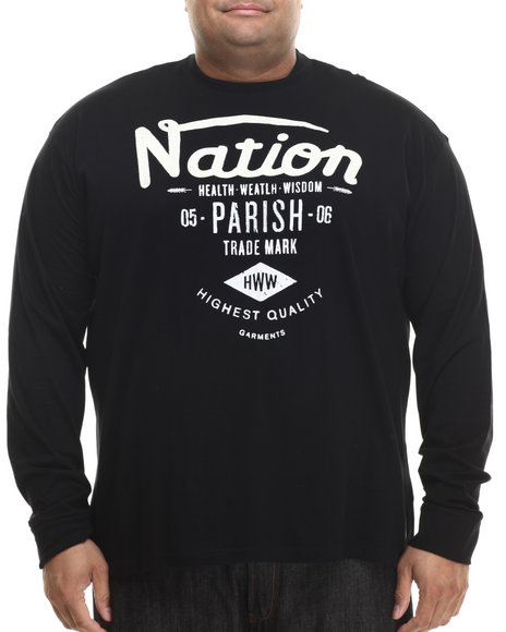 Parish - Men Black Graphic L/S T-Shirt (B&T) - $20.99