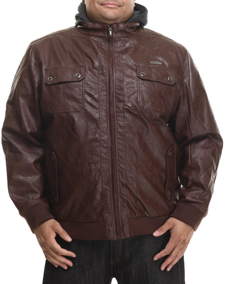 Rocawear - Men Brown P U Leather Jacket W/ Attached Fleece Hood (B&T)