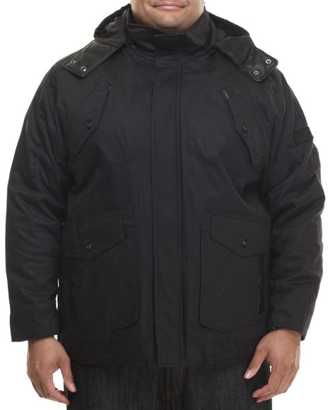 Rocawear - Men Black Wax Cotton Twill Jacket W/ Detachable Hood (B&T)