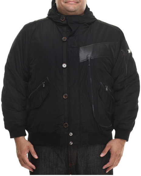 Rocawear - Men Black Nylon Bomber Jacket W/ Attached Hood (B&T) - $35.99