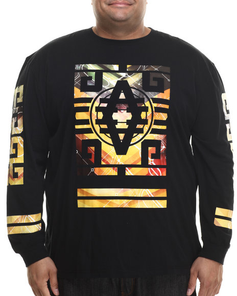 Akademiks - Men Black Perry Front/Chest Gold Trim L/S Shirt (B&T) - $34.99