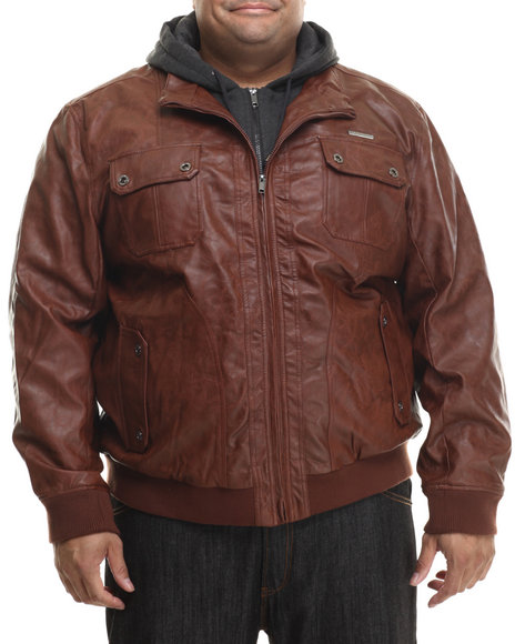 Rocawear - Men Tan P U Leather Jacket W/ Attached Fleece Hood (B&T)