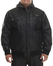 Rocawear - P U Leather Jacket w/ Attached Fleece Hood (B&T)