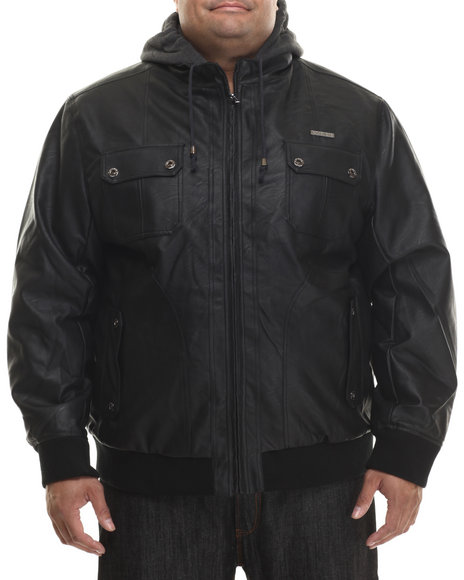 Rocawear - Men Black P U Leather Jacket W/ Attached Fleece Hood (B&T)