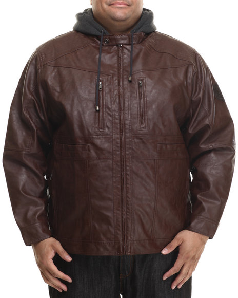 Rocawear - Men Brown P U Jacket W/ Detachable Fleece Hood (B&T)