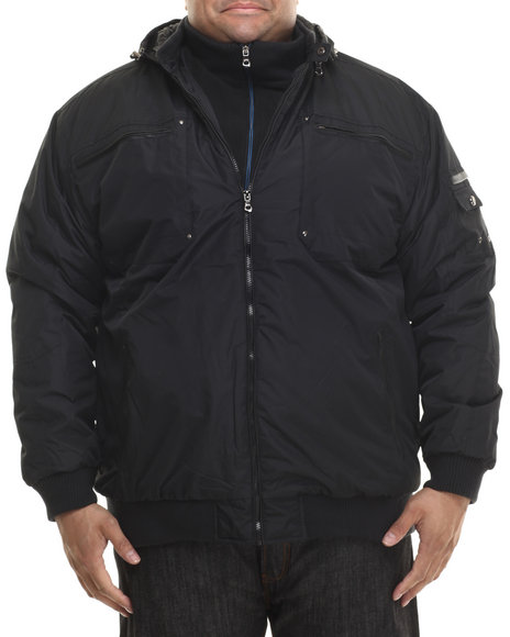 Basic Essentials - Men Black Amped Moto - Style Fashion Jacket (B&T)