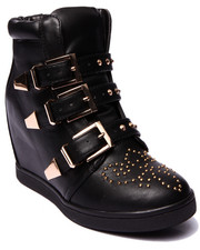 Fashion Lab - Sheridan Strapped and Studded Wedge Sneaker