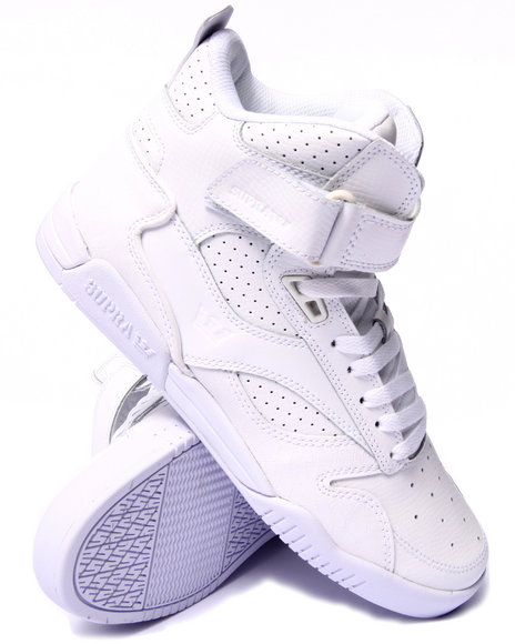 Supra - Men White Bleeker White Tumbled Leather Sneakers
