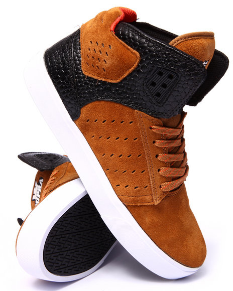 Supra - Men Black,Brown Atom Spice Colored Suede/Black Croc Embossed Leather Sneakers