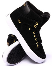 Supra - Vaider Black Suede/Gold Metal Sneakers