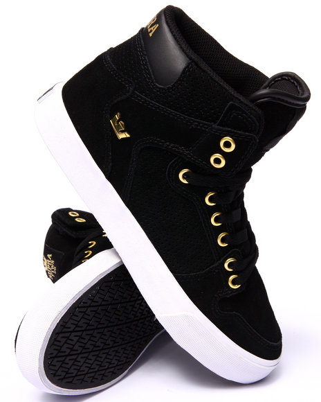 Supra - Men Black,Gold Vaider Black Suede/Gold Metal Sneakers