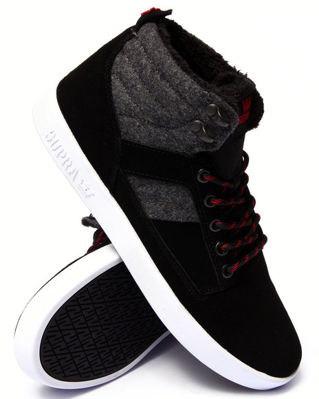 Supra - Men Black,Grey Bandit Black Suede/Grey Wool Sneakers