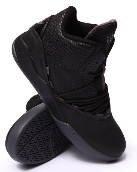 Supra - Men Black Estaban Black Snaked Embossed Leather Sneakers