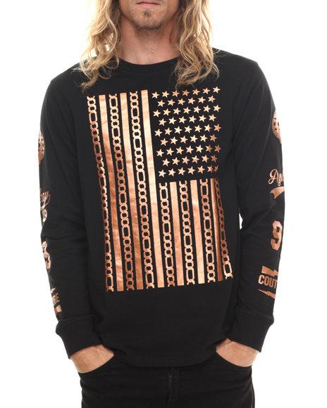 Akademiks - Men Black,Bronze Ridge Copper Detail L/S Shirt